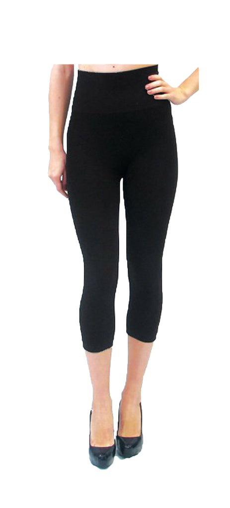 High-Waisted Black Capri Leggings