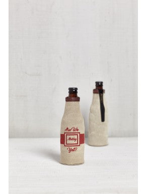 "Up-Cycled Canvas ""Are We Merry Yet?"" Bottle Coozie"