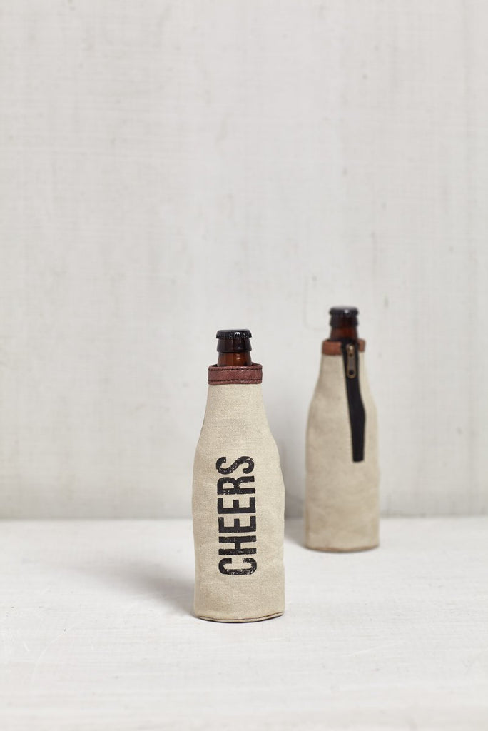 """Cheers"" Canvas Bottle Koozie"