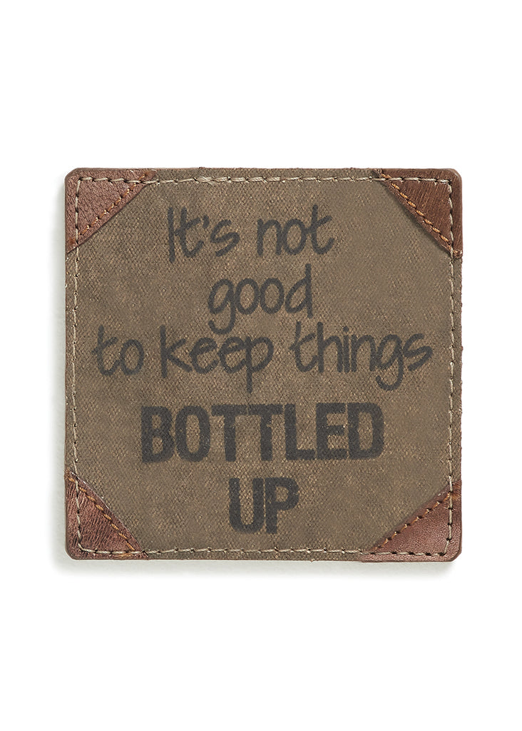 "Up-Cycled ""Bottled Up"" Canvas Coasters"