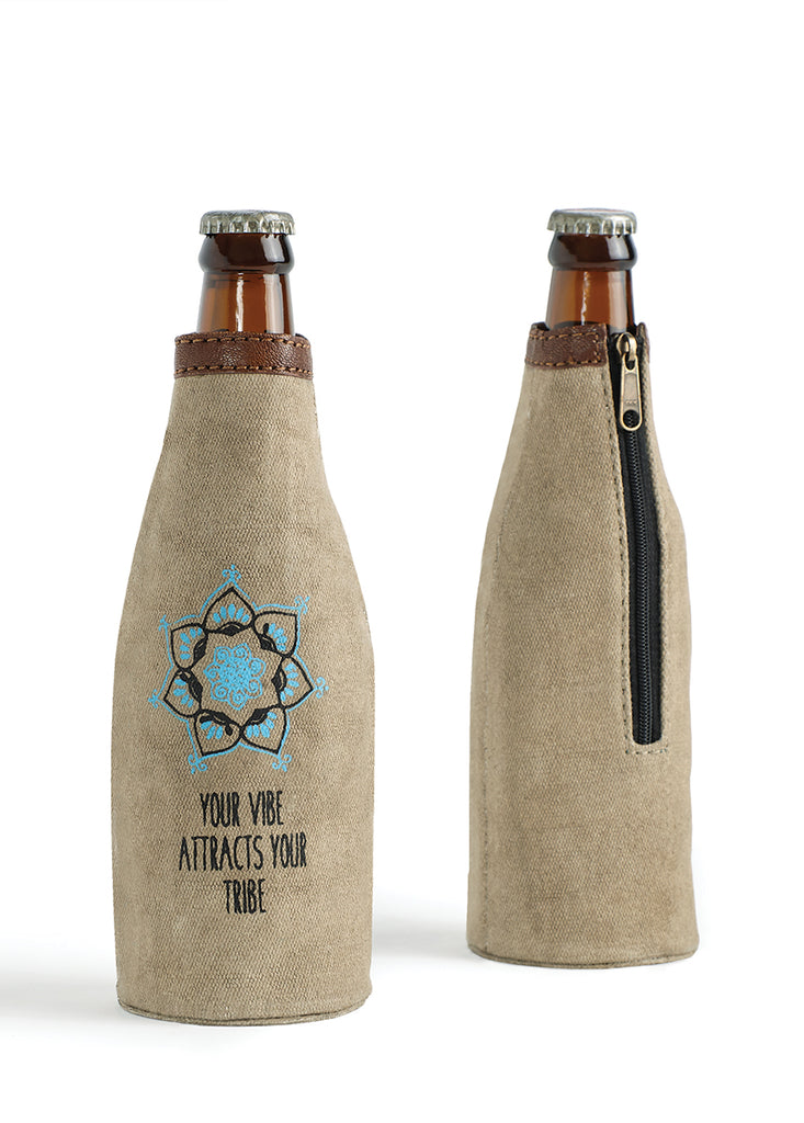 "Up-Cycled Canvas ""Your Tribe"" Bottle Coozie"