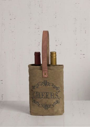 "Up-Cycled ""Cheers"" Canvas Double Wine Bag"