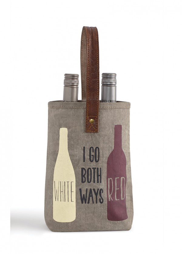 "Up-Cycled ""Go Both Ways"" Canvas Double Wine Bags"