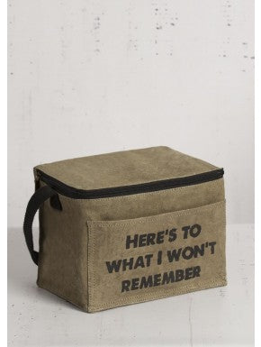 "Up-Cycled ""Won't Remember"" 6-Pack Canvas Cooler"