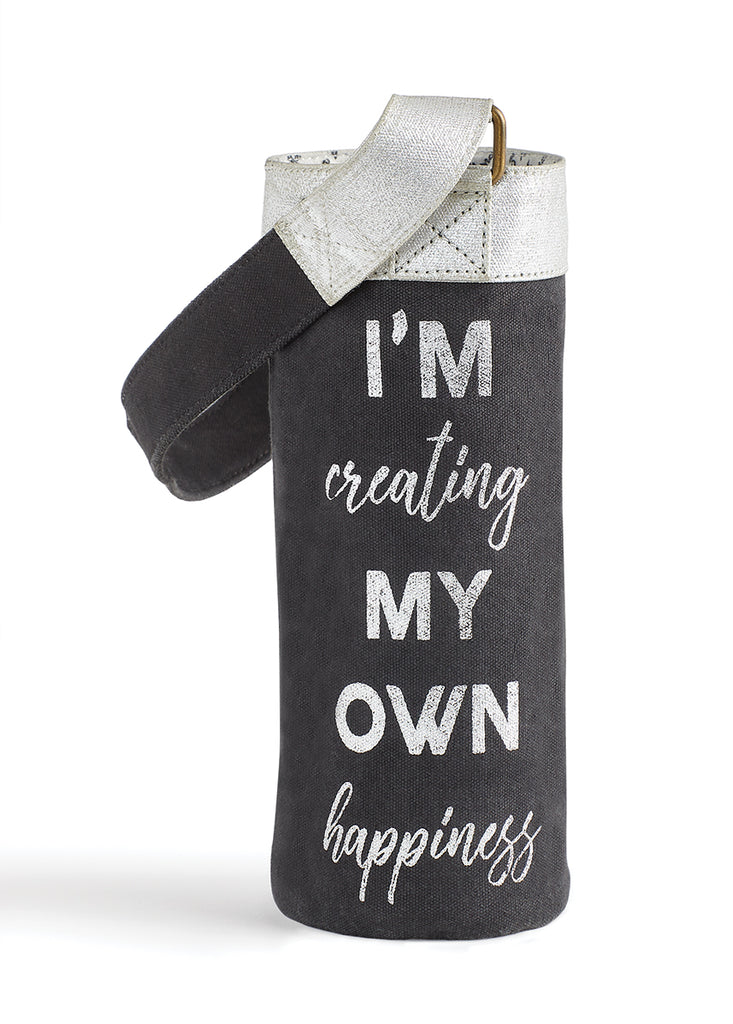 "Up-Cycled ""Creating Own Happiness"" Canvas Wine Bag"