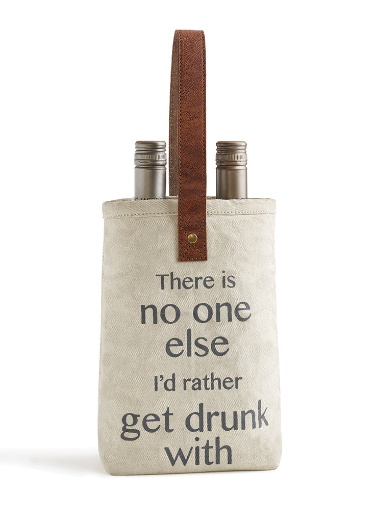 "Upcycled ""No One Else"" Double Canvas Wine Bag"
