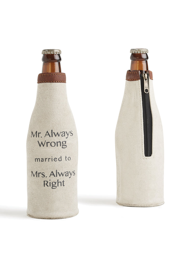"Up-Cycled Canvas ""Mr. Always Wrong"" Bottle Coozie"