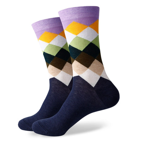 Diamond Socks - Purple/Brown/Navy