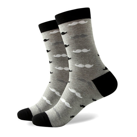 Mustache Socks - Grey/Black/White