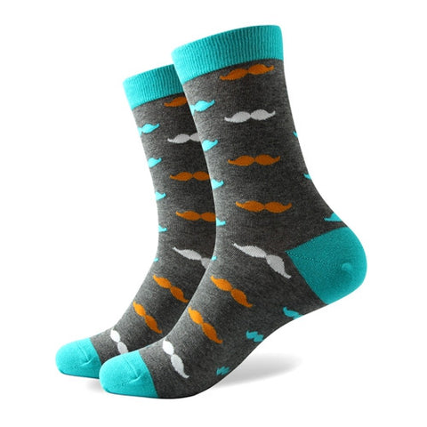 Mustache Socks - Grey/Teal/Orange