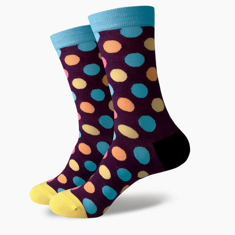 Polka Dot Socks - Blue/Purple/Orange