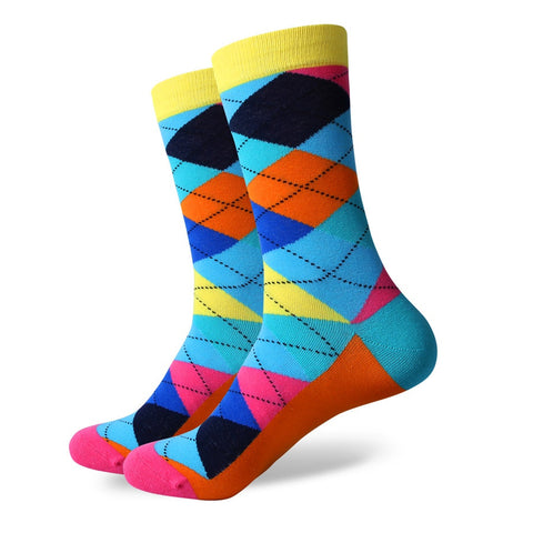 Argyle Socks - Blue/Orange/Pink