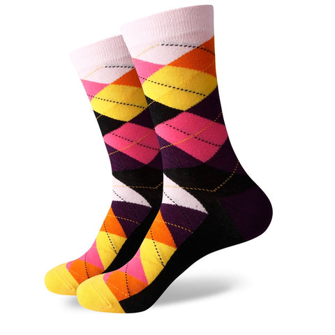 Argyle Socks - Pink/Yellow/Orange