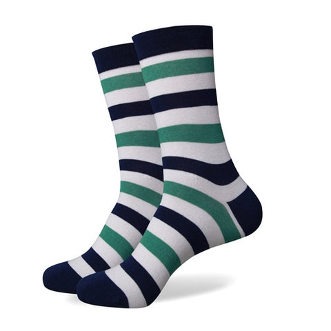 Striped Socks - Green/Navy/White