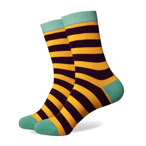 Striped Socks - Brown/Yellow/Green