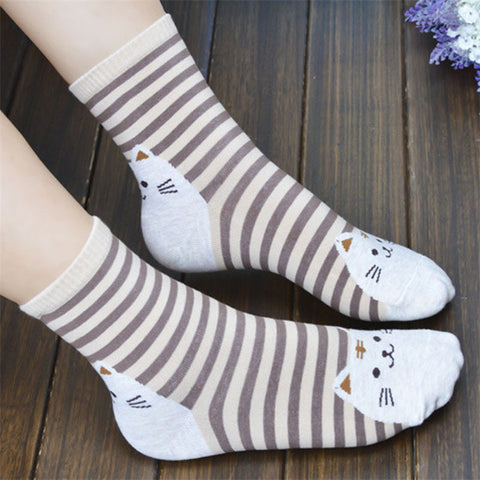 Striped Socks - Pink/Sky Blue/Brown/Red/Orange/Green