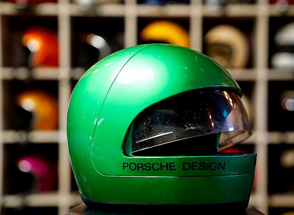 Vintage Custom Motorcycle Helmet green porsche design