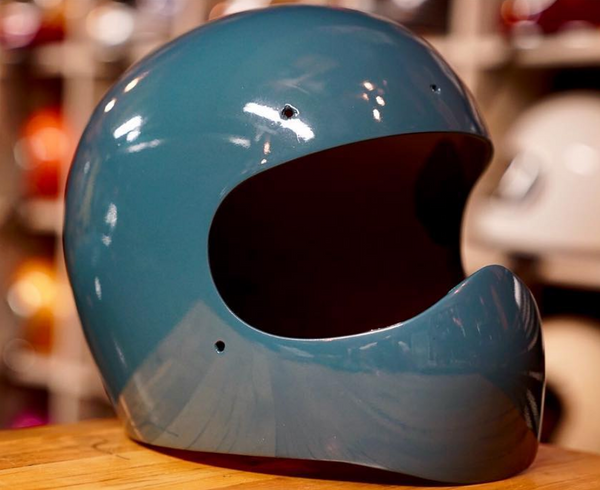 Vintage Custom Motorcycle Helmet blue
