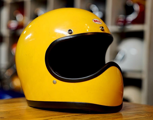 Vintage Custom Motorcycle Helmet yellow