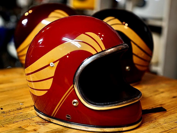 Vintage Custom Motorcycle Helmet red yellow