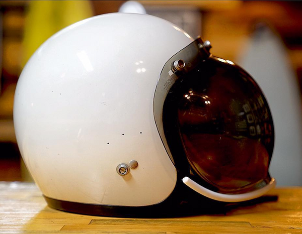 Vintage Custom Motorcycle Helmet with windshield