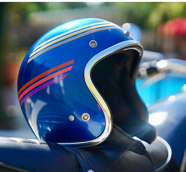 Vintage Custom Motorcycle Helmet Blue Red