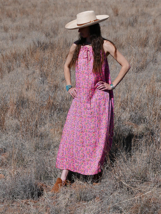 Summer Pink & Orange Floral Maxi Dress
