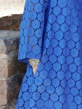 Blue Lace Kaftan Dress