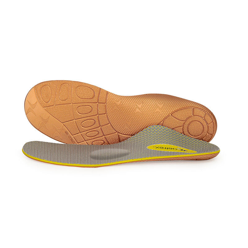 L805 - Our orthotic for medium to high arches with forefoot pain, featuring a cupped heel to cushion and stabilize the back of foot and a metatarsal pad to redistribute weight to relieve ball-of-foot discomfort.