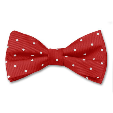Silk Pin Dot Bow Tie Red