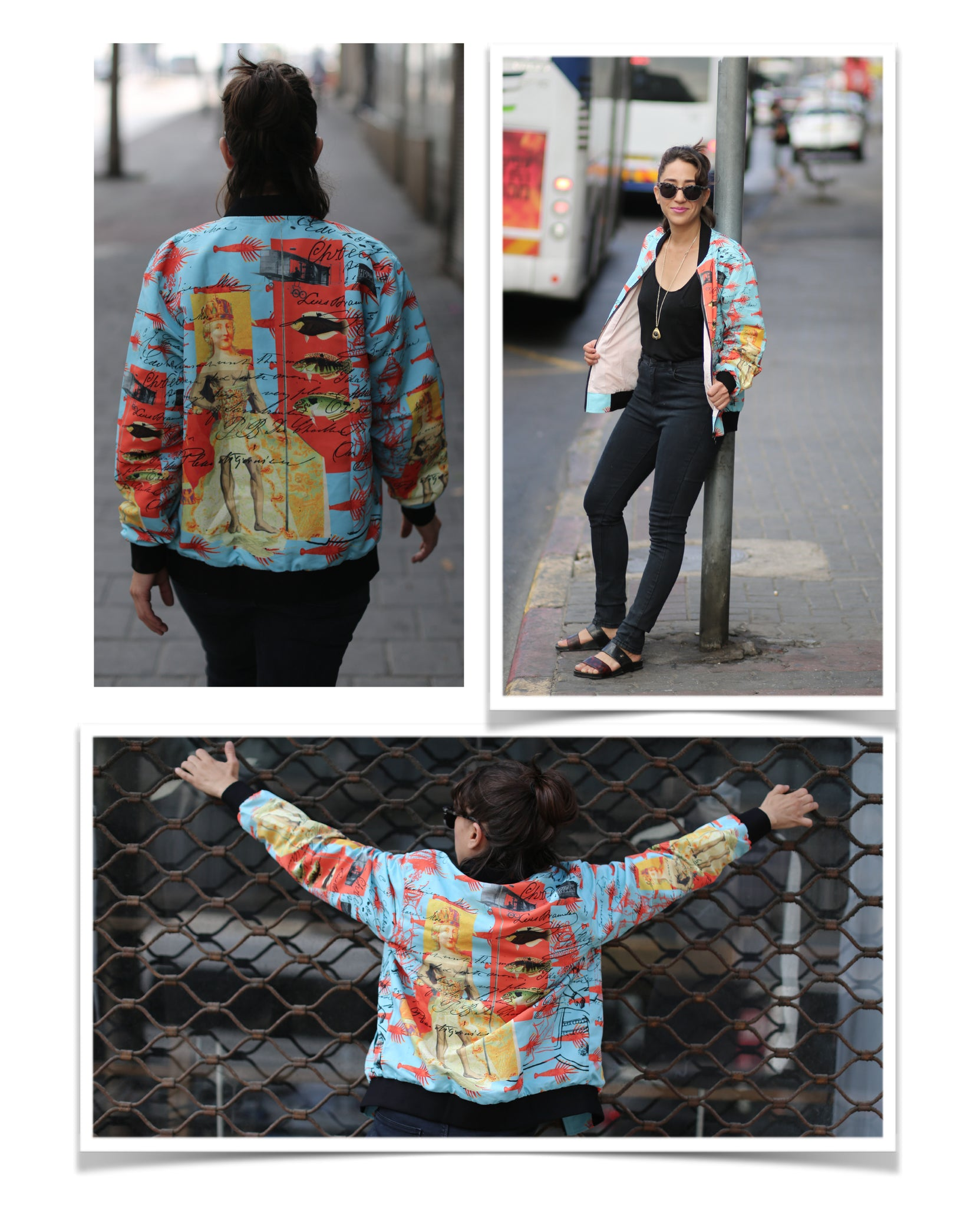 """THE SHOWY PLANE HUNTER AND FISH IV"" WOMEN'S BOMBER JACKET"