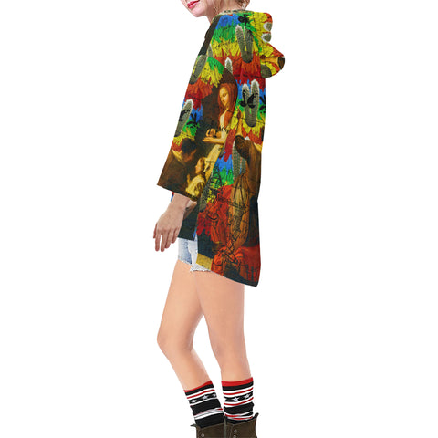 AND THIS, IS THE RAINBOW BRUSH CACTUS. II Unisex Step Hem Tunic Hoodie