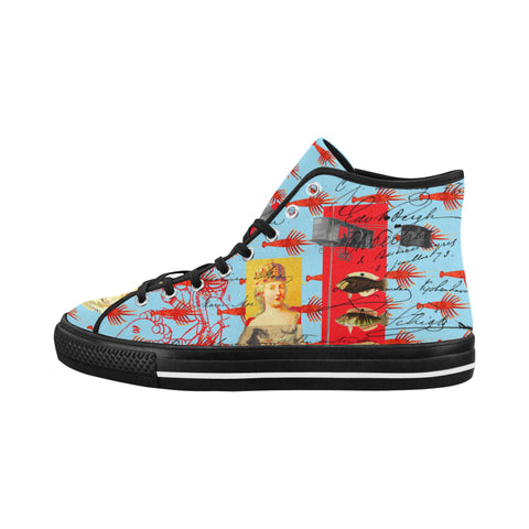 THE SHOWY PLANE HUNTER AND FISH IV Women's All Over Print Canvas Sneakers