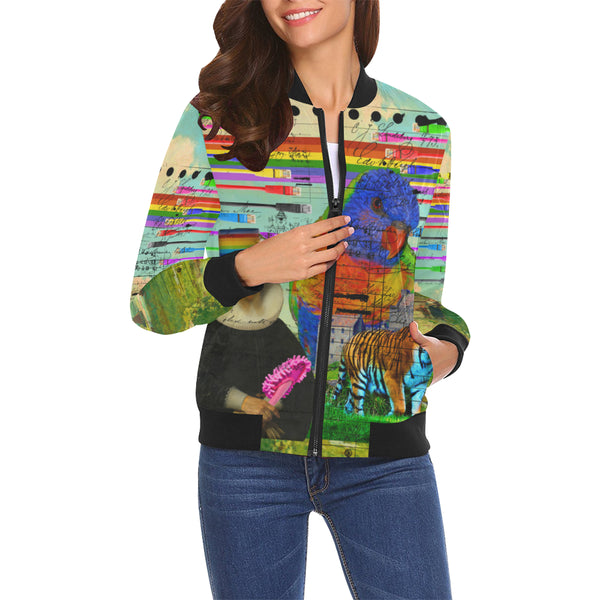 THE BIG PARROT All Over Print Bomber Jacket for Women
