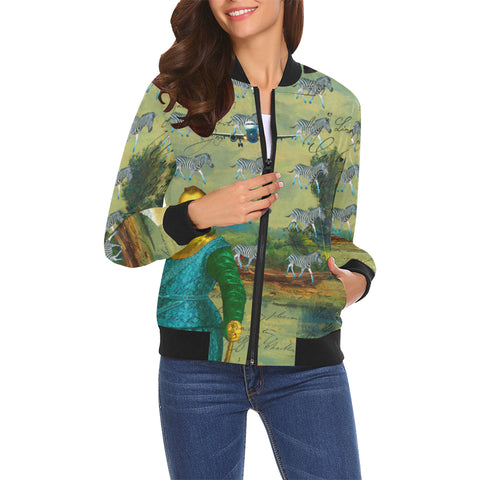 A PACKAGE FOR THE ZEBRAS All Over Print Bomber Jacket for Women
