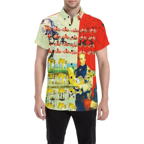 ACCORDING TO PLAN. Men's All Over Print Short Sleeve Button Down Shirt