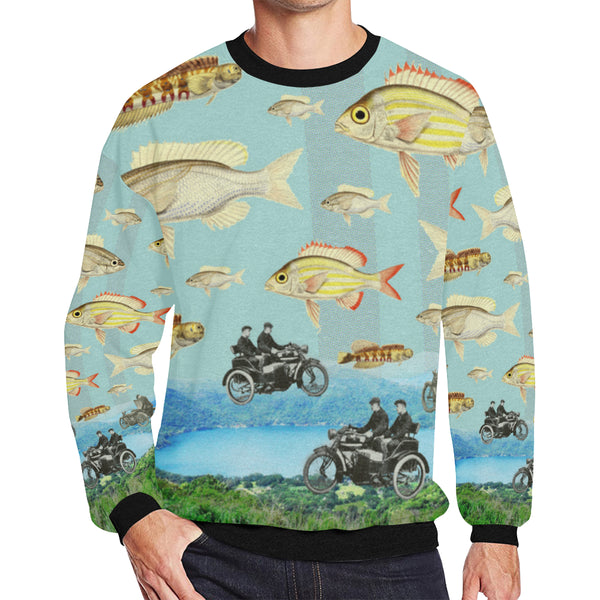 VINTAGE MOTORCYCLES AND COLORFUL FISH... IN THE MOUNTAINS Men's Oversized Fleece Sweatshirt