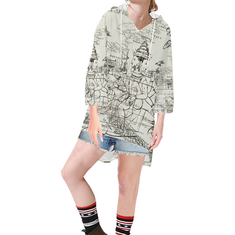 MAP AND SOME ILLUSTRATIONS Unisex Step Hem Tunic Hoodie