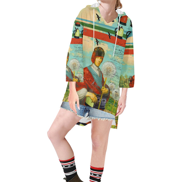 KITCHENWARES AND DANDELIONS Unisex Step Hem Tunic Hoodie