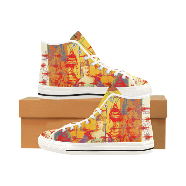 THE ONE BIG QUEEN AND THE MANY LITTLE RED LOBSTERS Women's All Over Print Canvas Sneakers