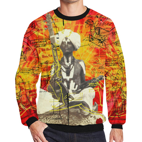 THE SITAR PLAYER Men's Oversized Fleece Sweatshirt