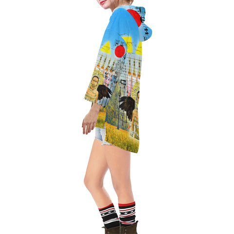 ROCKET GIRL II Unisex Step Hem Tunic Hoodie
