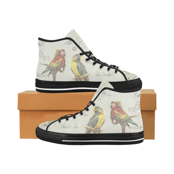 THE PARROT MAP II Men's All Over Print Canvas Sneakers