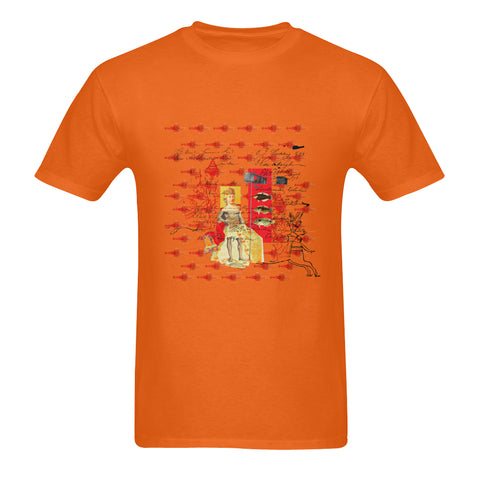THE SHOWY PLANE HUNTER AND FISH IV Sunny Men's Printed Cotton Tee Shirt