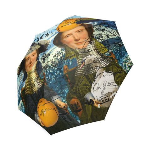 THE TWO TWINS IN BLUE AND YELLOW IV I Foldable Umbrella