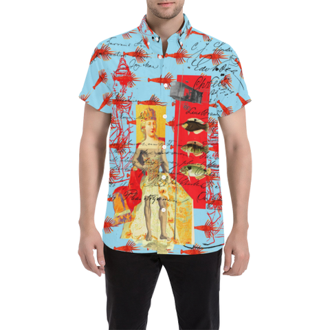 THE SHOWY PLANE HUNTER AND FISH IV Men's All Over Print Short Sleeve Button Down Shirt