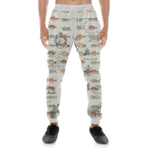FISH AND A NAUTICAL MAP Men's All Over Print Sweatpants