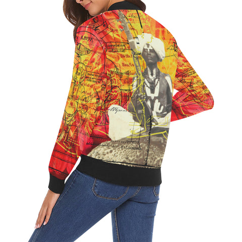 THE SITAR PLAYER All Over Print Bomber Jacket for Women