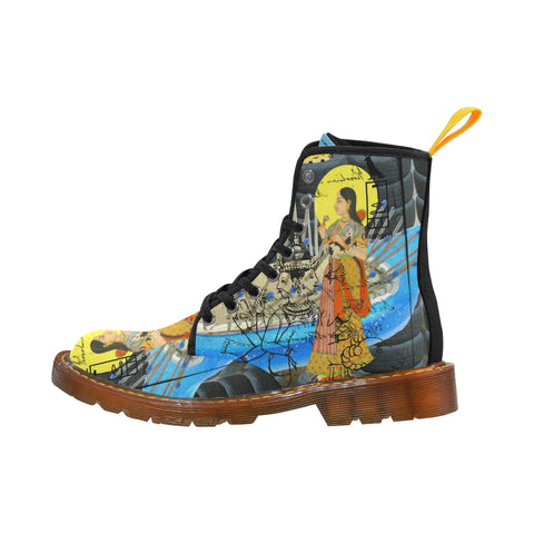 1, 2, 3 V Women's All Over Print Fabric High Boots