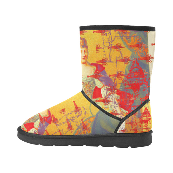 THE ONE BIG QUEEN AND THE MANY LITTLE RED LOBSTERS Unisex All Over Print Snow Boots